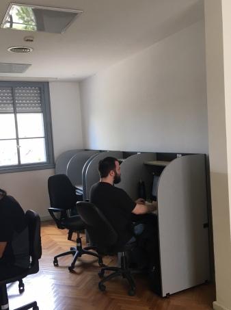El espacio del archivo con computadoras